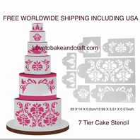 Wedding Cake stencil, 7 piece set. Designer stencil, Free worldwide shipping (1) (2) (5) (10) (11)